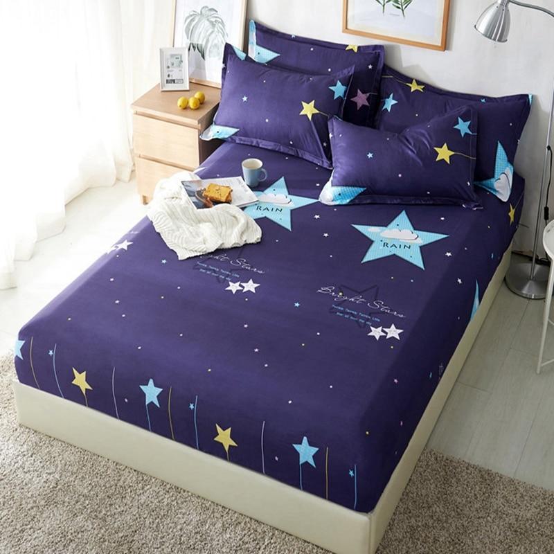 1 Stks Polyester Blauw Paars Sky Gedrukt Kids Laken Beddengoed Voorzien Lakens Matrashoes Spreien Met Elastische Band Bedsheet