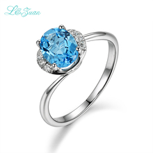 l&zuan 925 Sterling Silver Natural 1.52ct The black friday Mystic Topaz Blue Stone Christmas gift Fine Jewelry Rings for Women