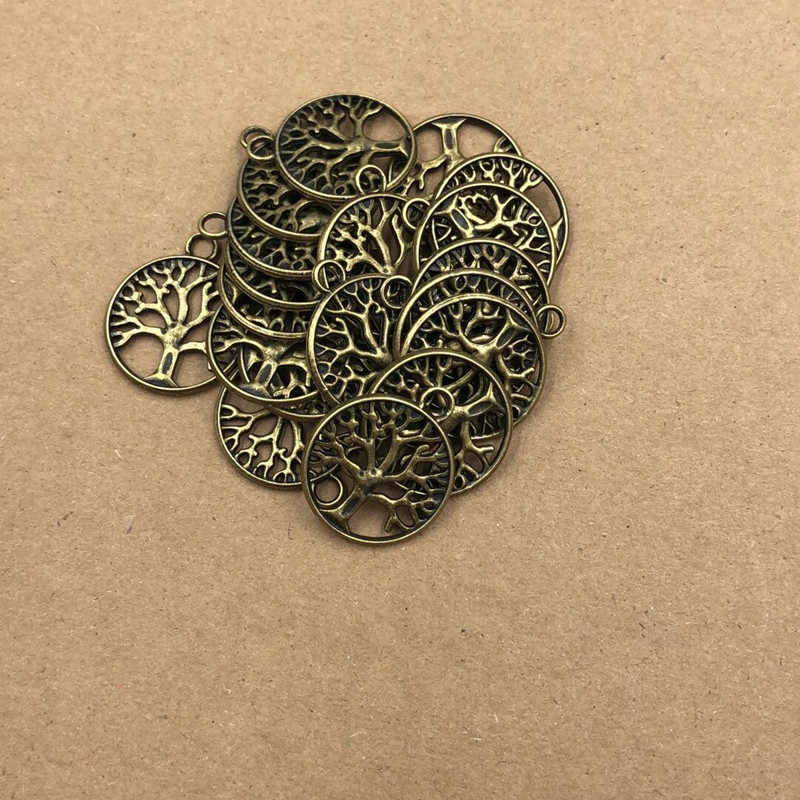 2.4cm venda quente retro desejando árvore da vida encantos pingentes para colar pulseira jóias fazendo diy artesanal 5ps