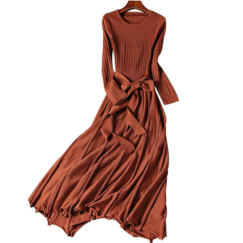 New Long Sleeve Sexy Club Women Backless Bow-Tie Bandage Dress Slim Bodycon Knitted Sweater Maxi Party Night Dresses robe femme jyconline hot long sleeve turtleneck women dress autumn knitted bodycon fitness dress vestidos slim elastic sweater dresses robe