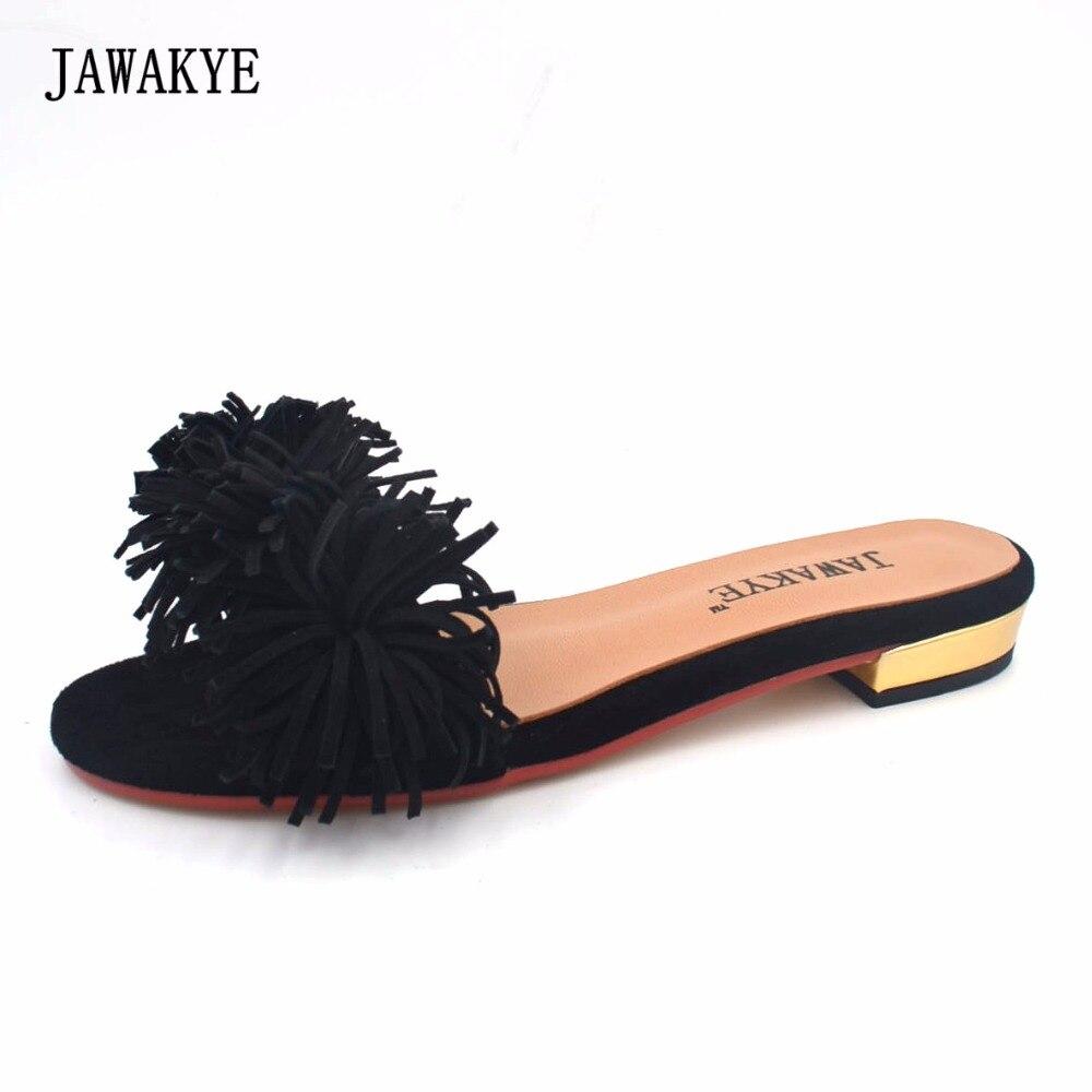 Ayakk.'ten Terlikler'de JAWAKYE Yaz Püskül Terlik Kadın Süet kız Katır düz topuk fringe Flip Flop Açık Slayt Plaj düz ayakkabı Kadın'da  Grup 1