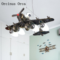 Lámpara de araña con diseño creativo de luchador negro  lámpara de dormitorio para niños  lámpara de avión LED Personal estadounidense
