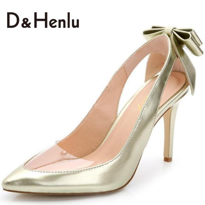 ФОТО {D&H}Big Size34-43 New Sexy Bow See-Through Pointed Toe Shoes Women Thin Heels Pumps Summer Sandals  High Heels Shoes Women