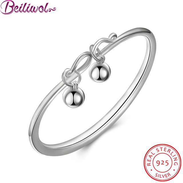 New 925 sterling silver fashion bracelets for women sterling-silver-jewelry 2 beads bracelets & bangles for health accessories
