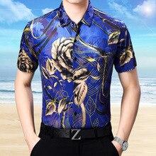 Стиль Мужская Летняя Открытая бархатная рубашка с цветочным рисунком мужская повседневная прозрачная рубашка с коротким рукавом