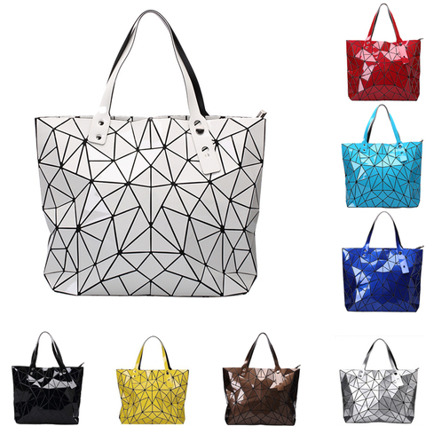 Women Brand New Designer PU Leather Large Geometric Bao Tote Bags Ladies Chic Multi Color Stylish Shopping Top Handle Bags Pakistan