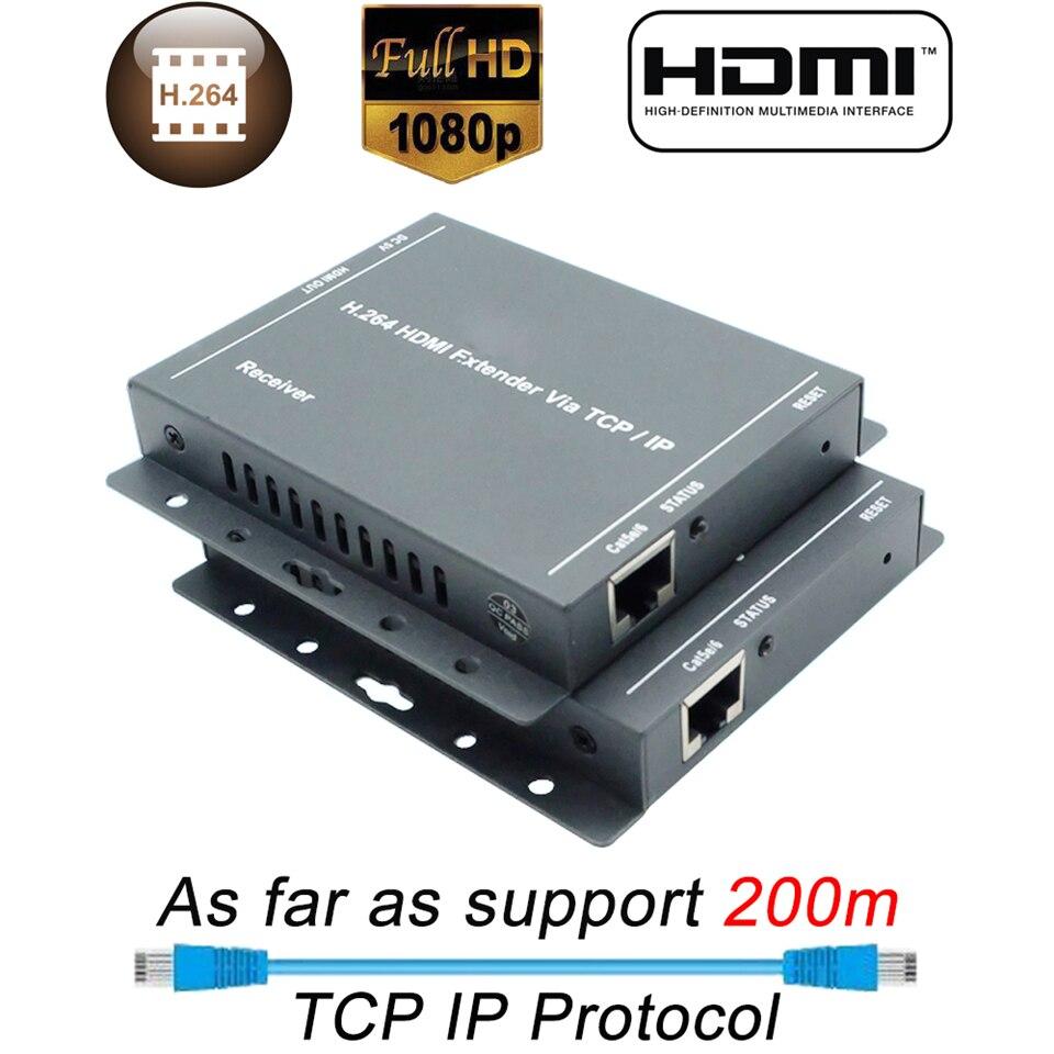 ZY-DT216 HDBitT IP HDMI Extender 200m Over UTP/STP CAT5 CAT5e CAT6 Extender HDMI With IR LAN Network RJ45 HDMI Extender Ethernet