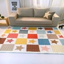 Анти-статические насыщенный цвет звезды и плед дизайн играть коврик для детей полиэстер мультфильм carpet для спальни прихожей салон
