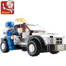 SLUBAN F1 Safety Car Montagem de Blocos de Construção do Modelo Define Iluminai Plástico Blocos DIY Tijolos Brinquedos Educativos para Crianças