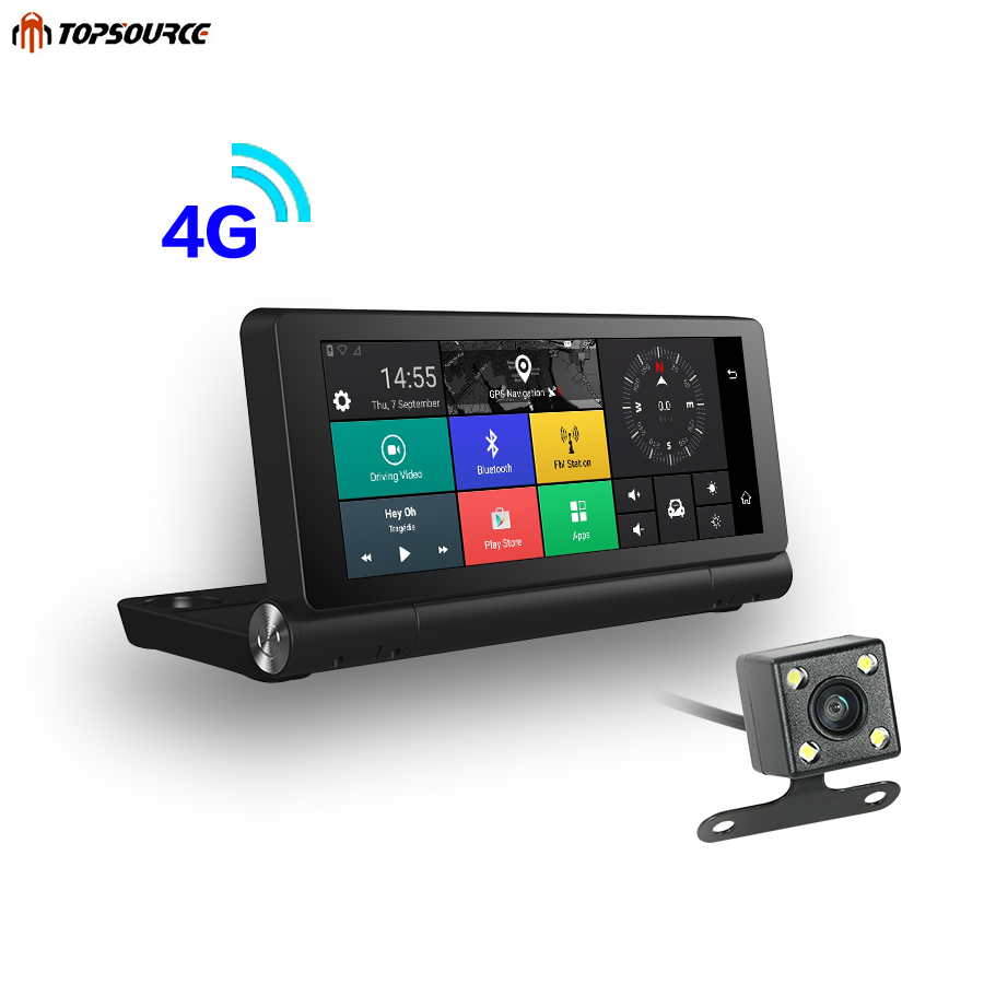 TOPSOURCE New 4G Car GPS Navigation Android 5 1 Bluetooth ROM 16GB RAM 1GB Full HD