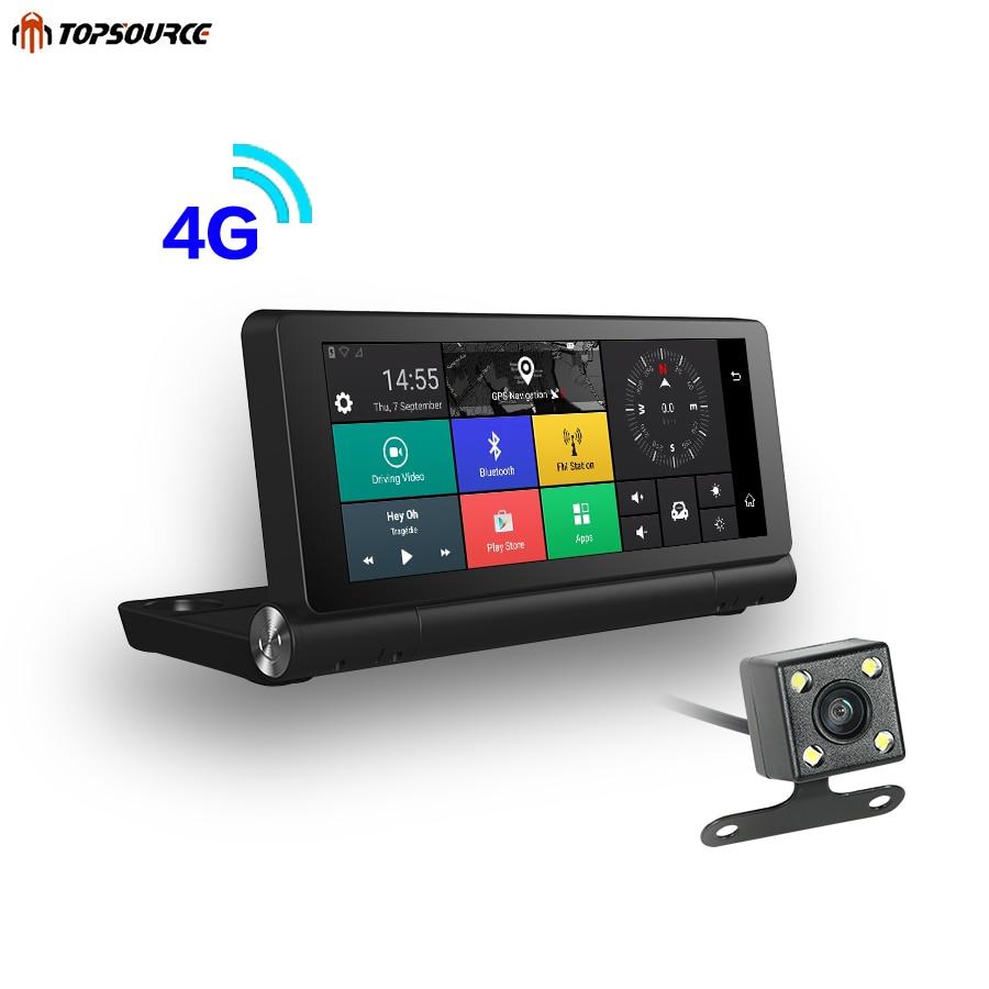 TOPSOURCE Nouveau 4g Voiture GPS Navigation Android 5.1 Bluetooth ROM 16 gb RAM 1 gb Full HD 1080 p voiture DVR Navigateur Double Lentille Caméra TS22