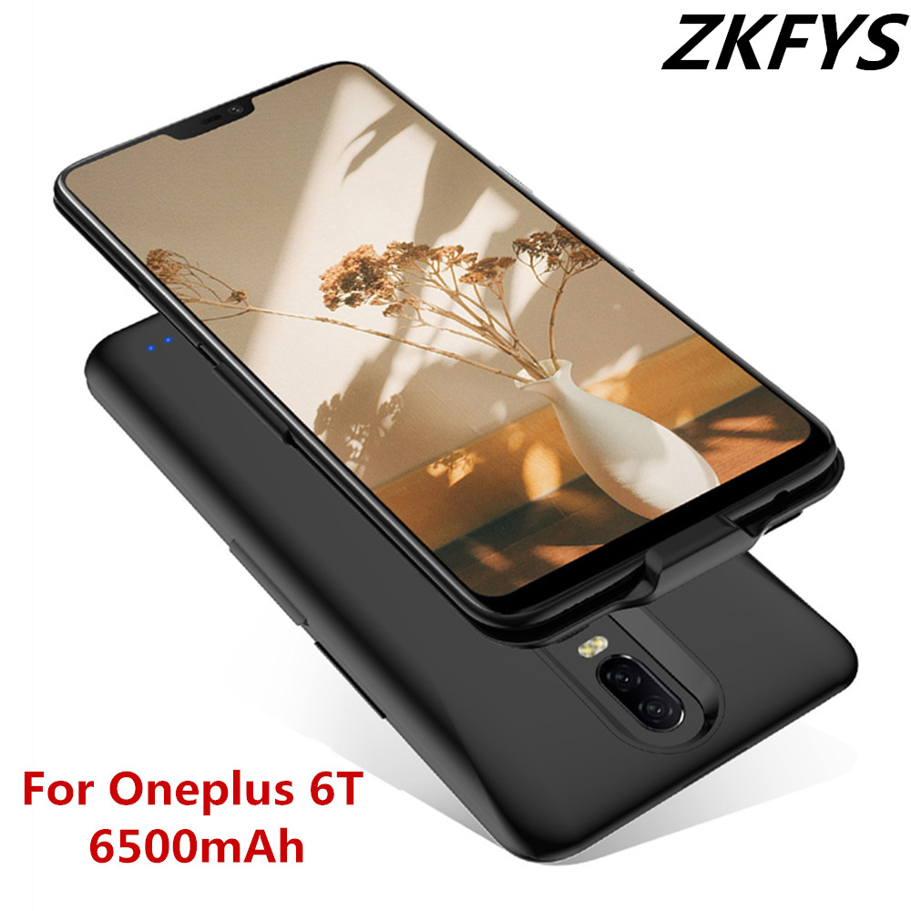 ZKFYS 6500mAh Portable Battery Charger Case Power Bank Charging Cover For Oneplus 6T Ultra Thin Fast Power Case