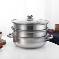 3 Tier Steamer Induction Steam Steaming Pot Stainless Steel Kitchen Cookware 28cm Cooking Pot Usable Home Kitchen Cookware