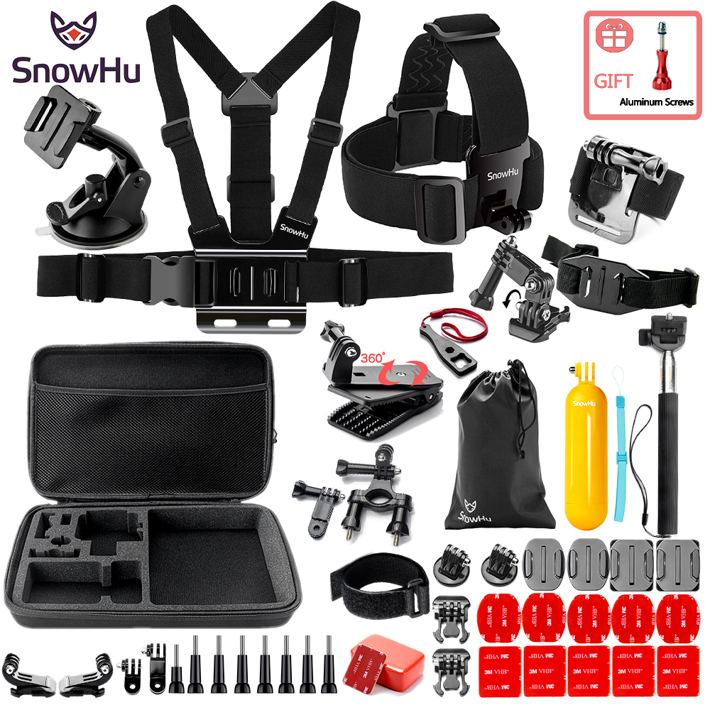 SnowHu 360 Degree Rotary Backpack Hat Clip Mount for Gopro Hero 6 5 3 4 Session SJCAM SJ4000 Xiaomi for Yi 4K Accessory ZH91 miniisw m ac universal curved surface mount kit for gopro hero 4 3 3 hero2 hero sj4000 black
