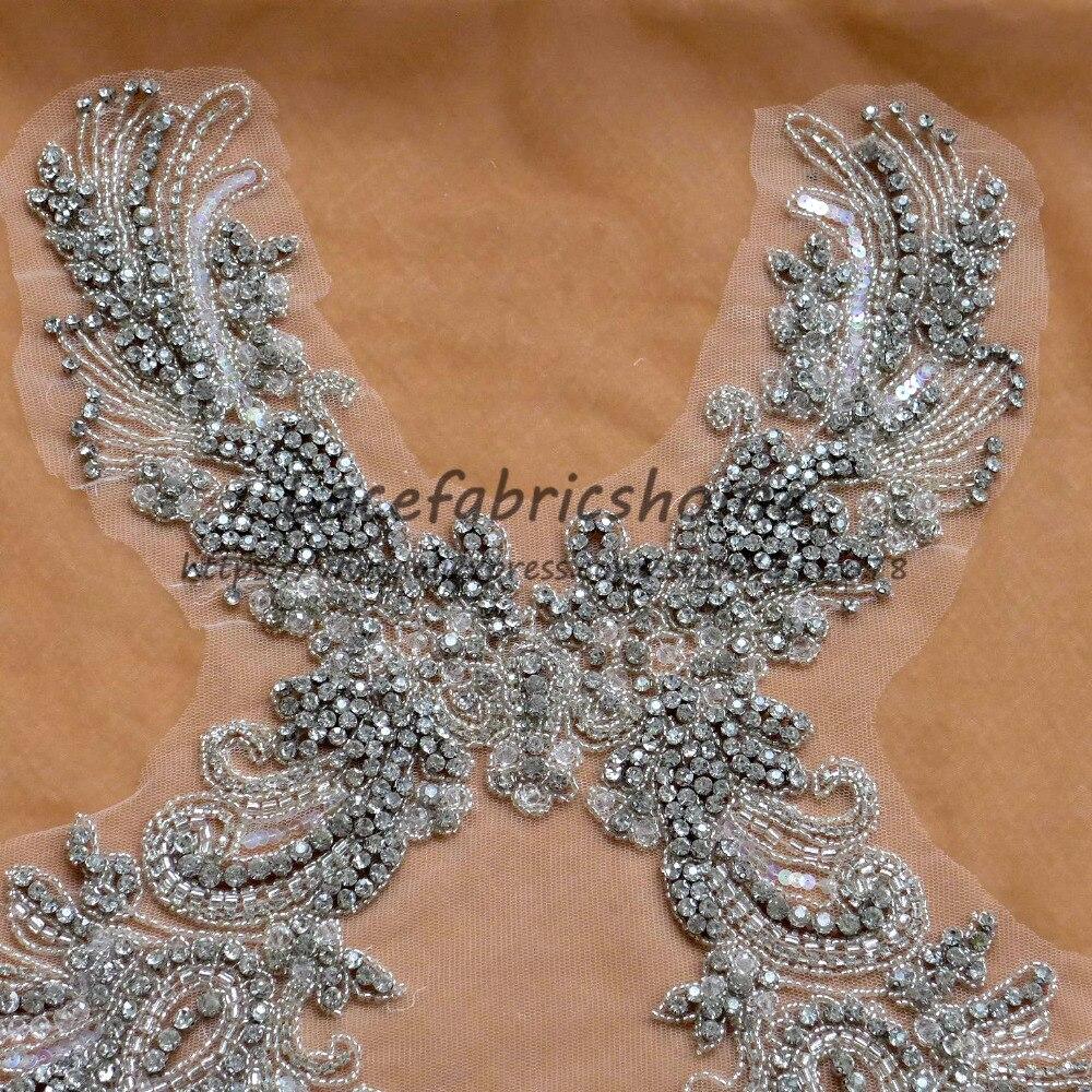 Nouveau super lourd travail applique strass perlé patch coudre-on robe accessoires par pièce 71X32 cm