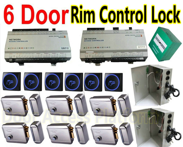 US $671 53 |6 Door Web Interface IP Control+PC Management Software+RFID ID  Card reader+Electro Rim Control Lock+UPS Power Supply+break butto-in Access