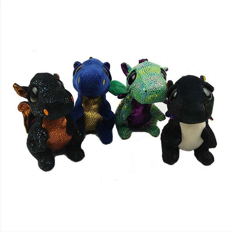"""Ty Vaias Gorro 6 """"15 centímetros Saffire Regular do Dragão de Pelúcia Macia Grande-eyed Stuffed Animal Boneca Coleção brinquedo com Tag Coração"""