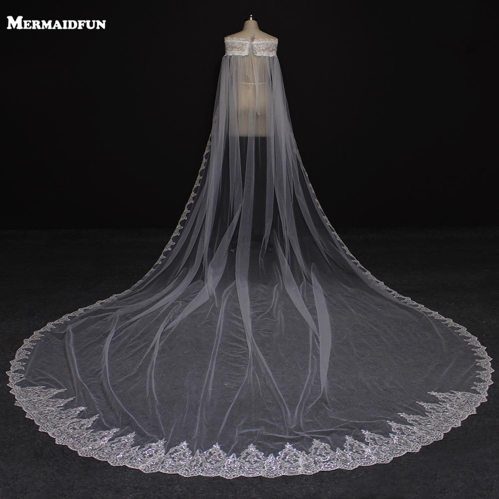 Real Photos One Layer Bling Sequins Lace 4 Meters Long Wedding Veil on Shoulder Cloak Bridal
