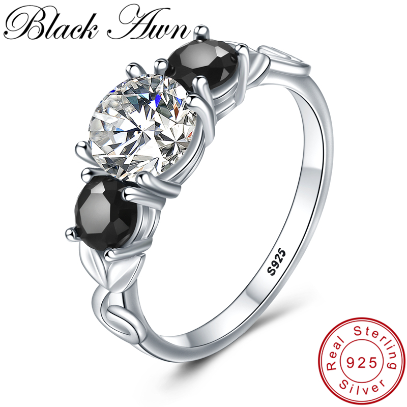 BLACK AWN 925 Sterling Silver Finger Ring Classic Wedding Rings for Women Female Bijoux Sterling Silver Jewelry G090 in Rings from Jewelry Accessories