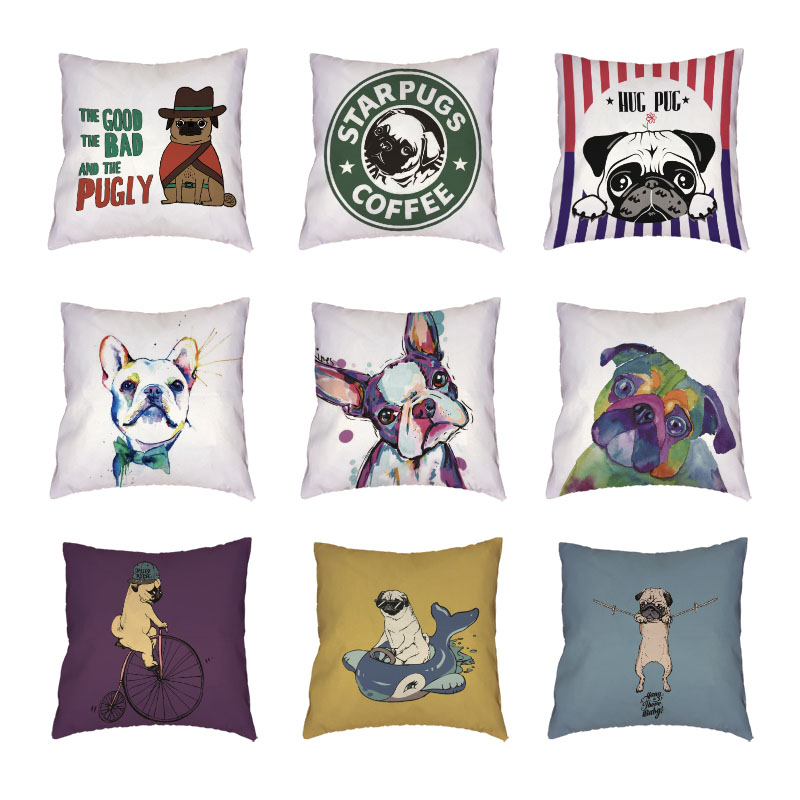 Funny Dachshund Pugs White Cushion Cover Gifts Cartoon Watercolour Dogs Happy Camper Decorative Polyester Peach Skin Pillow Case