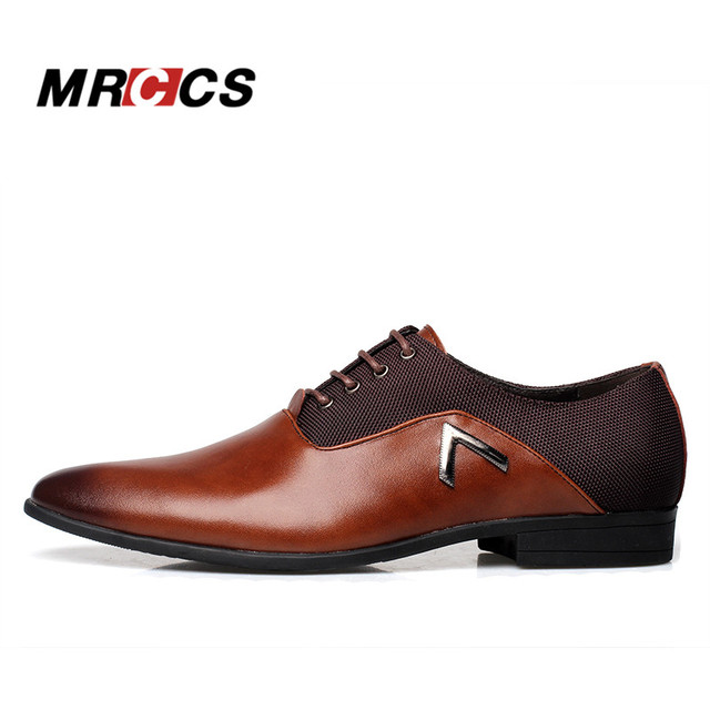 MRCCS Pointed Shoes Big Size 38-47 Business Men's Basic Casual Shoes,Black/Brown Leather Cloth Elegant Design Handsome Shoes