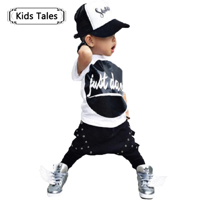 SY130 2018 new arrival summer baby boy's clothes letter printed shirt + pants 2 pcs. set children clothing kids clothes retail