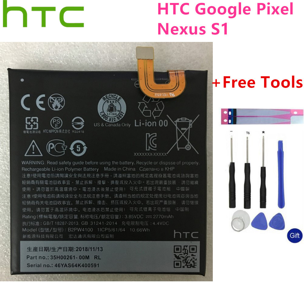 Original 2770mAh B2PW4100 Replacement Battery For HTC Google Pixel / Nexus S1 Li-ion Polymer Batteries Batteria+Free Tools