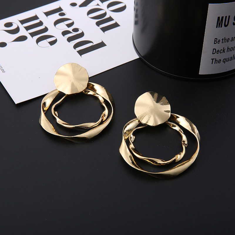 Fashion Gold Earrings Creative Irregular Pendant Round Valentines Day Gifts Exquisite Geometric Shape Jewelry
