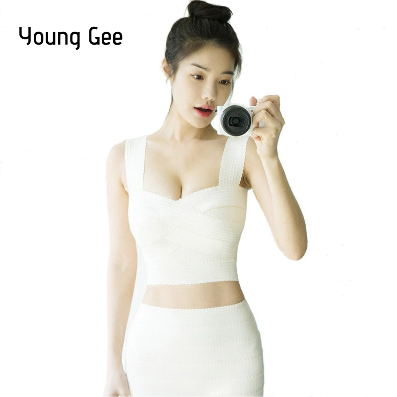 Young Gee 2018 Western Crop Tops Women Retro Bandage Tank Top Sexy Camisoles Stretch Vest Strapless Blusas Feminino Back Zipper