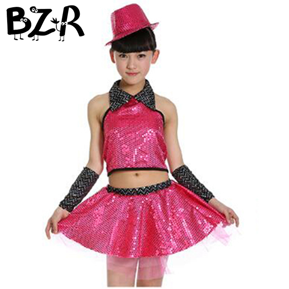 Bazzery Fashion Girls Modern Dance Suit Sequined Jazz Tops & Veil Skirt Tutus Children Stage Show Dancing Performance Costumes
