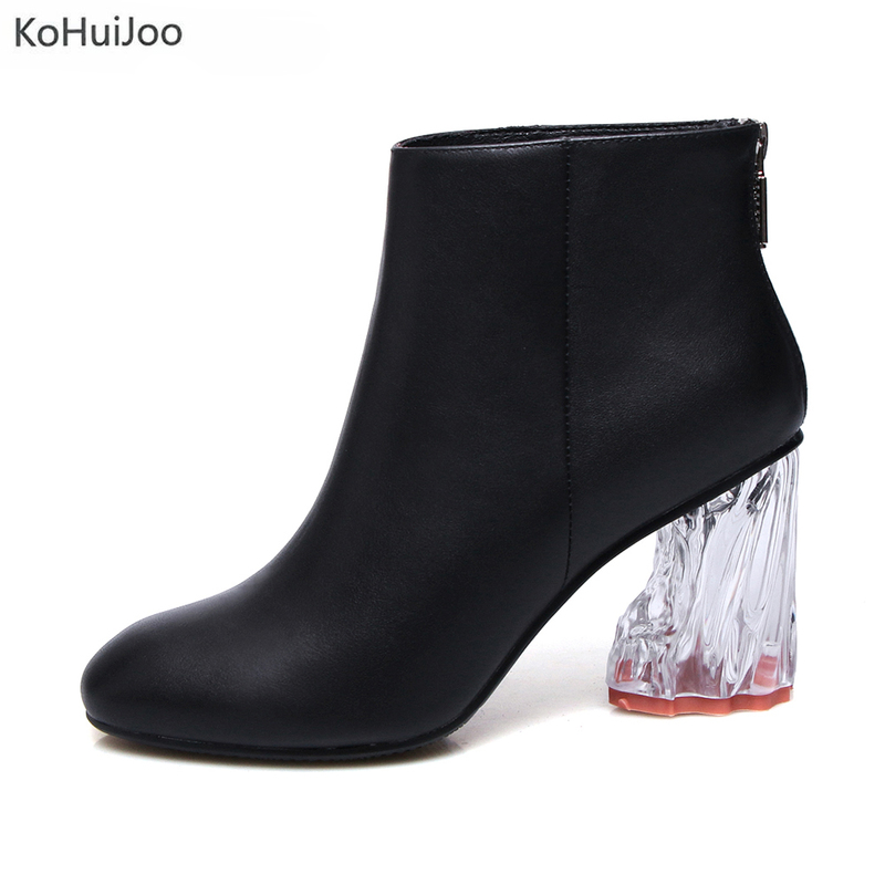 KoHuiJoo Women Boots Genuine Leather Ankle Boots Round Toe Winter Women Boots Ladies Party Transparent Heel Boots Big Size 34-42 donna in genuine leather women boots shoes classic round toe thick heel ankle boots black calf leather ladies boots
