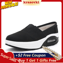 Krasovki Slip on Sneakers Women Platform Flats Dropshipping Comfortable Rocking Shoes Wedge For Slipony