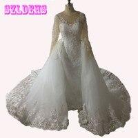Vintage Mermaid Wedding Dress 2017 Sexy Lace Long Sleeve Muslim Vestido De Noiva 2016 Detachable Train