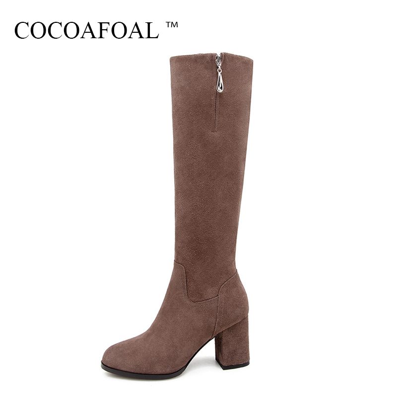 COCOAFOAL Winter Nubuck Leather Chelsea Knee High Boots Fashion Black Women High Heeled Shoes Genuine Leather Knee High Boots