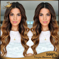 Ombre Color Brazilian Human Hair Glueless Lace Front Wigs Body Wavy Wig Ombre Full Lace Human Hair Wigs For Black Women