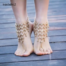 New Fashion Acrylic Crystal Instep Harness Anklets Bride Ankle Jewelry Chains Summer Days Beach/Party Statement Barefoot Anklets