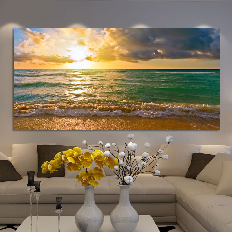Wall Painting Landscape Posters And Print Wall Art Canvas Painting Seascape Sunrise Pictures For Living Room Home Decor No Frame
