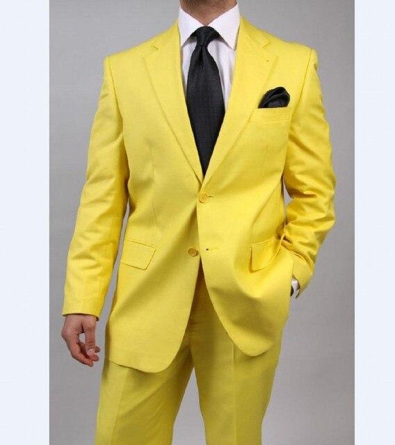 Custom Made padrinhos Notch lapela do noivo smoking amarelo Mens ternos de casamento melhor homem ( Jacket + Pants + Tie + lenço ) B766