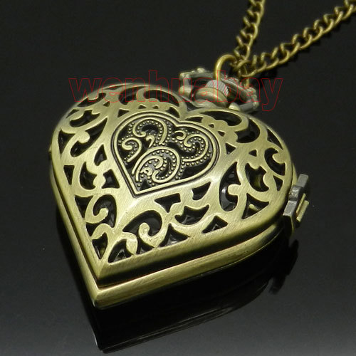 Bronze Hollow Quartz Heart-shaped Pocket Watch Necklace Pendant Chain Womens Gif