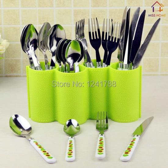 2 Pcslot Plastic Kitchen Utensil Holder Dinnerware Rack