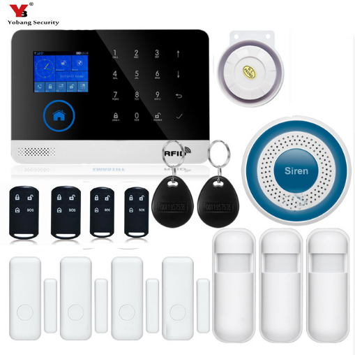 YobangSecurity Wireless GSM Home RFID Burglar Security Touch Keyboard WIFI GSM Alarm System Sensor Detector APP Remote Control marlboze wireless home security gsm wifi gprs alarm system ios android app remote control rfid card pir sensor door sensor kit