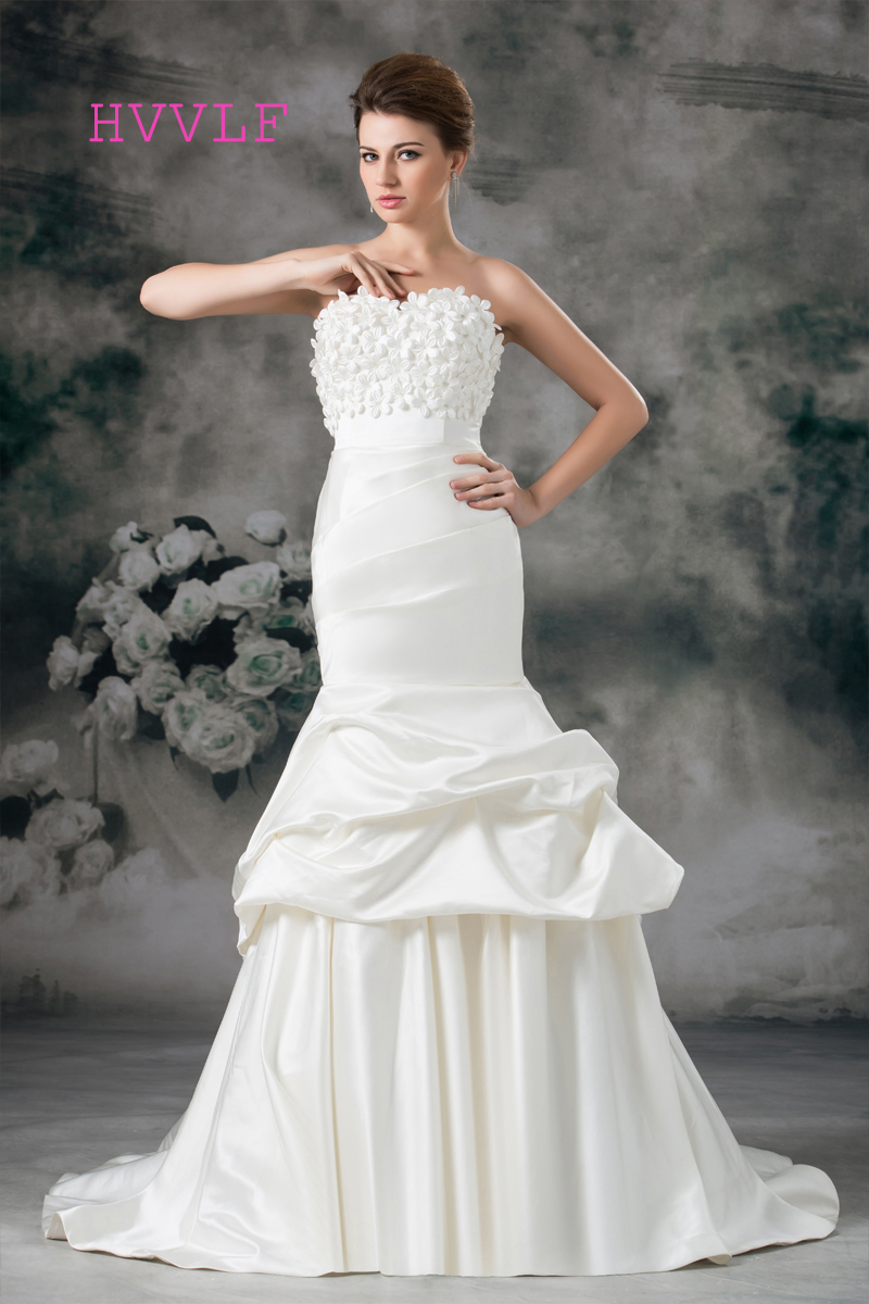 Boho 2019 Wedding Dresses Mermaid Sweetheart Sweep Train Flowers Cheap Vintage Wedding Gown Bridal Dresses Vestido De Noiva