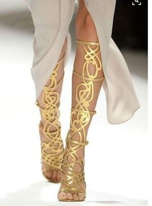 Golden Mirror Hollow Out Women Knee High Sandal Boots Thin High Heel Best Seller Shoes Laser Cut Show Shoes Cage Dress Boots