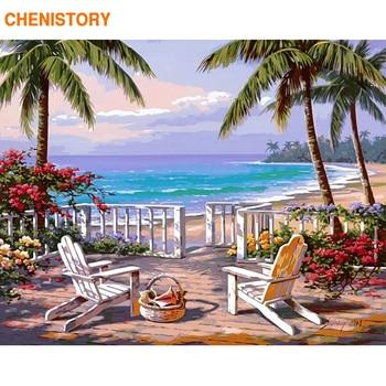 CHENISTORY فرملس شاطئ البحر دهان داي بواسطة أرقام المشهد الحديثة جدار ديكور فني الاكريليك الخط اللوحة للمنزل الفن