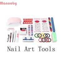 Manooby Acrylic Nail Kit UV Led Manicure Set 7ml 4 Colors UV Gel Polish Nail Art with Lamp Manicure Set Professional Design