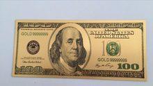 10 Uds medalla 24k EE. UU. 100 dólares de oro billete de dinero de papel moneda dinero falso billete