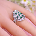 Fashion Green Crystal Rings For Wedding Rhodium Plated Women Ring 2016 Brand Bijuterias Stainless Steel Fine Jewelry Hot Sale
