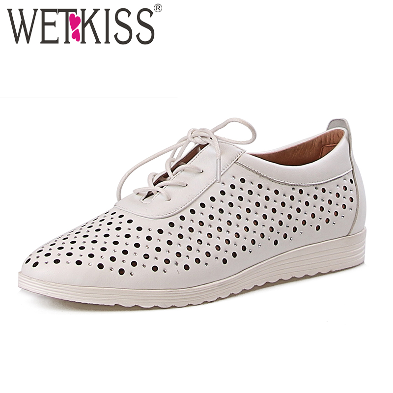 WETKISS Summer Fashion Casual Women Flats Lace Up Round Toe Flat Sole Shoes Cow Leather Footwear 2018 Cutout Autumn Girl Shoes asumer black fashion spring autumn ladies shoes round toe lace up casual women flock cow leather shoes flats