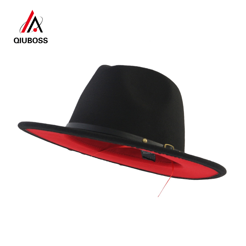 QIUBOSS Black Red Patchwork Wool Felt Jazz Fedora Hats Belt Buckle Decor Women Unisex Wide Brim Panama Party Trilby Cowboy Cap