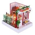 Pizza Shop Миниатюрный Кукольный Дом Мебели, Смешные DIY Дерева Кукольный Дом Сборки Игрушки для Детей Подарок На День Рождения Бесплатная Доставка
